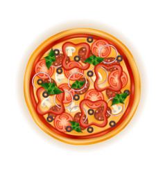 big round pizza with cheese tomato salami olive vector image