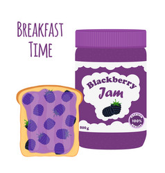 blackberry jam in glass jar toast with jelly vector image