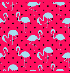 Blue and pink flamingo silhouette dotted pattern vector