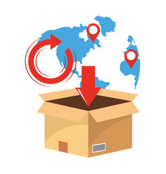 Box with map vector