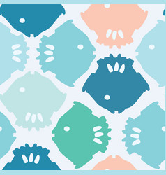Bright fish silhouette pastel blue and pink vector