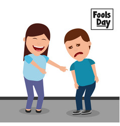 Cartoon woman smiling and sad man fools day vector
