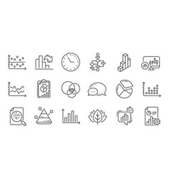 charts and graphs line icons infochart block vector image