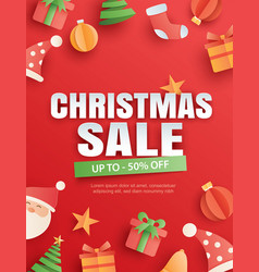 christmas sale with object and symbol on red vector image