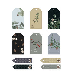 Christmas tags cute collection labels with waterc vector