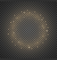 Circle of glitter particles golden color vector