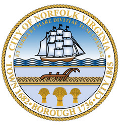 Coat arms norfolk in virginia state usa vector