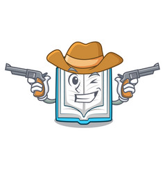 cowboy opened book on the cartoon table vector image
