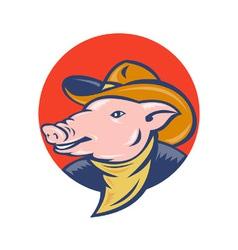 Cowboy pig icon vector