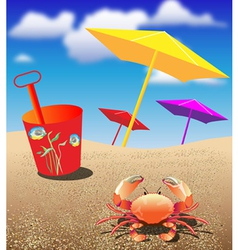 Crab at the Beach vector image