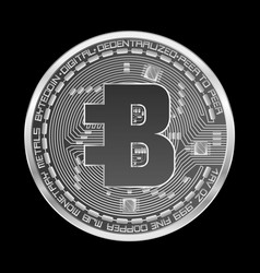 Crypto currency bytecoin silver symbol vector
