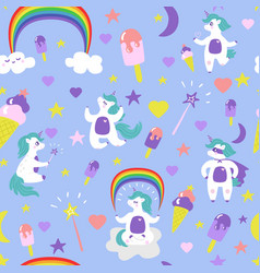 cute cartoon unicorn seamless pattern vector image