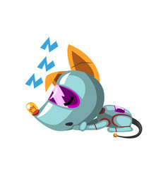 Cute robot dog lying on the floor and sleeping vector