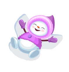 Cute snowman making snow angel isolated on white vector