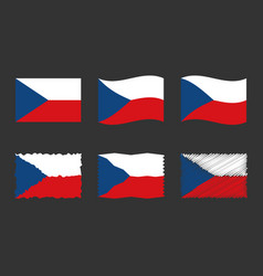 czech flag set official colors and proportion vector image