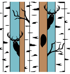 deer in a birch forest seamless pattern with hand vector image