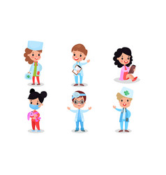 Different medical professions by boys and girls vector