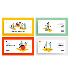 Disabled physiotherapy rehabilitation landing vector