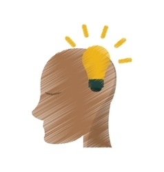 Drawing head human new idea bulb vector