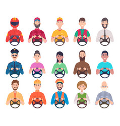 drivers avatars service professional sitting in vector image