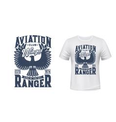 Eagle bird t-shirt print mockup aviation club vector
