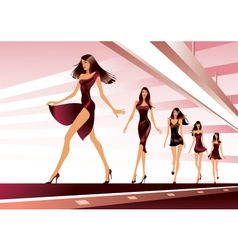 Fashion models on runway vector image