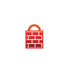 Firewall padlock logo design template vector
