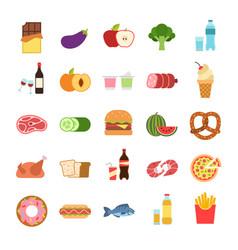 flat food hamburger and bread pizza and vector image