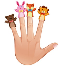 Four finger puppets on human hand vector