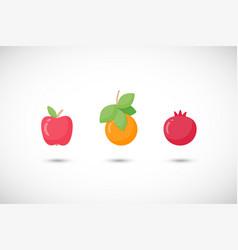fruits fruit flat icon set vector image