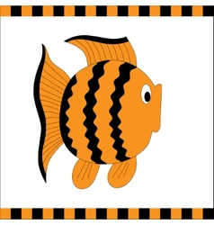 Funny orange fish with black stripes vector image