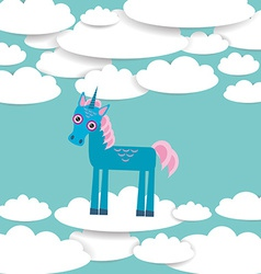 Funny unicorn White clouds on blue sky background vector