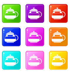 glass teapot icons 9 set vector image