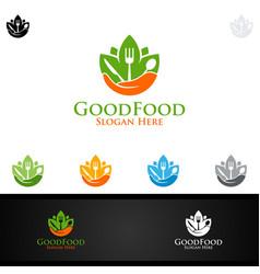 good food logo for restaurant or cafe vector image