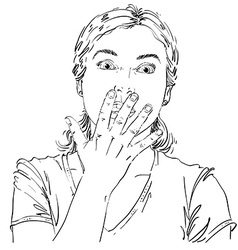 Graphic hand-drawn of white skin impressed l vector