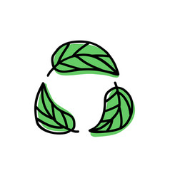 Green leaves icons isolated on white vector