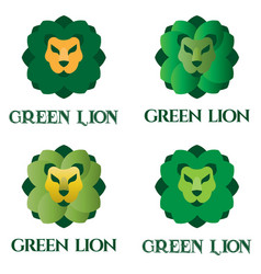 green lion logo set for flower shop landscaping vector image