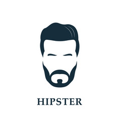 hipster face mens beard and hair vector image