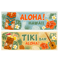 Horizontal banners set in hawaiian style vector