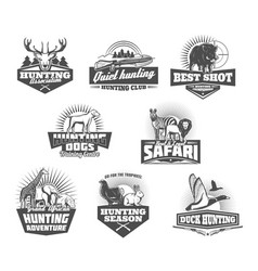 hunting club animals and gun retro icons vector image
