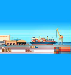 industrial sea port cargo logistics container vector image