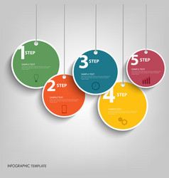 Info graphic with hanging colored circles template vector image
