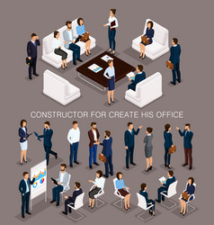 isometric set business people for conception vector image