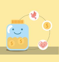 kawaii jar glass coins money love heart charity vector image