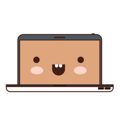 kawaii laptop computer in colorful silhouette vector image