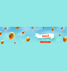long banner with sale discount offer yellow vector image