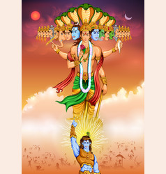 lord krishana showing vishvarupa darshan vector image