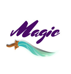 Magic fight game element with sword vector