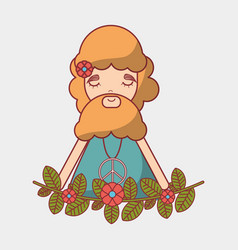 man with beard peace and love vector image