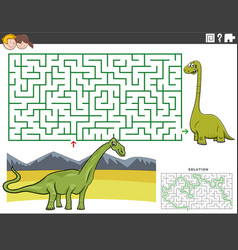 maze educational game with cartoon dinosaurus vector image